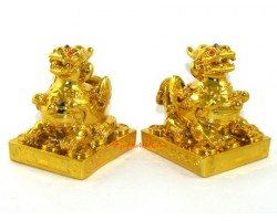 Fengshui Pair of Golden Pi Yao