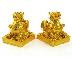 Fengshui Pair of Golden Pi Yao