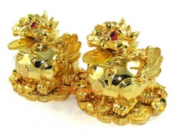 Pair of Wealthy Golden Winged Pi Yao