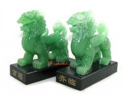 Pair of Jadeite Pi Yao