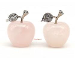 Pair of Bejeweled Rose Quartz Apple