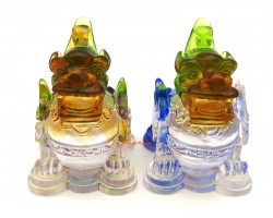 Pair of Colorful Liuli Glass Fat Good Fortune Pi Yao