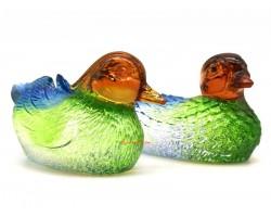 Pair of Colorful Liuli Glass Mandarin Ducks for Love