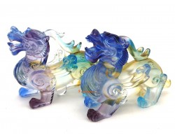 Pair of Colorful Liuli Glass Winged Pi Yao
