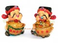 Pair of Cute Gods of Wealth with Gold Ingot and Wealth Pot