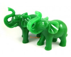 Pair of Elephants with Trunks Up
