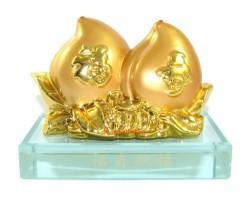 Pair of Golden Feng Shui Peaches