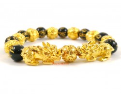 Pair of Golden Pi Yao with Om Mani Beads Bracelet (10mm)