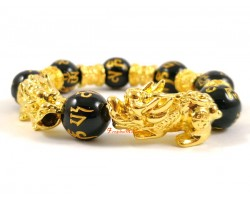 Pair of Golden Pi Yao with Om Mani Beads Bracelet (14mm)