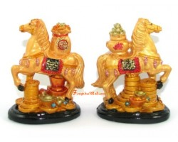 Pair of Horses with Wealth Bag and Wealth Pot