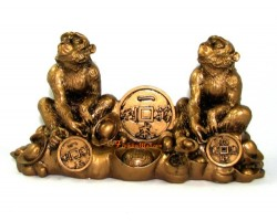 Pair of Monkeys with Treasure for Prosperity Luck