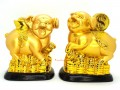 Pair of Prosperity Pigs with Gold Ingot and Coin