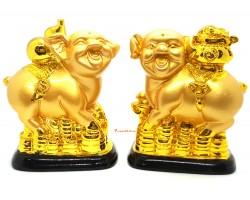 Pair of Prosperity Pigs with Wu Lou and Wealth Pot
