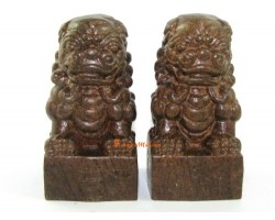 Pair of Wooden Feng Shui  Fu Dogs