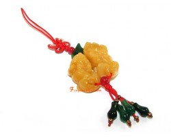 Pair of Yellow Jasper Piyao Mobile Hanging