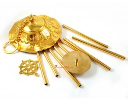 Parasol Dhamachakra Wheel 9 Rod Windchime