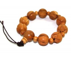 Peach Wood Lotus Bracelet