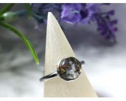 Peridot and Moldavite Open Silver Ring