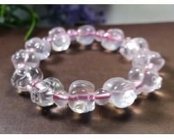 Piggy Pink Rose Quartz Crystal Bracelet
