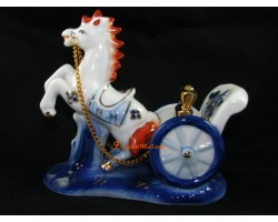 Porcelain Horse Pulling a Carriage with Gold Ingots