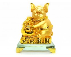 Prosperity Golden Pig with Wealth pot