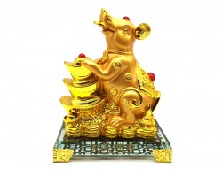 Prosperity Golden Rat with Stack of Gold Ingots