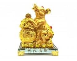 Prosperity Golden Rat with Wealth Bag
