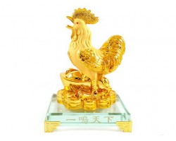 Prosperity Golden Rooster with Gold Ingot