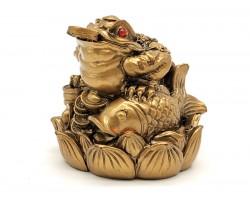Prosperity Money Frog on Lotus with Carp