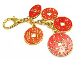 Protection and Blessing 5 Amulet Coins Keychain