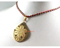 Raindrop Om Mani Padme Hung Golden Pendant