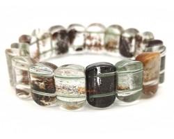 Rectangular Mixed Phantom Quartz Bangle Bracelet