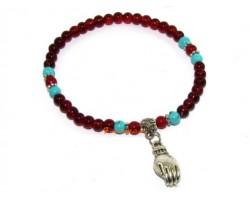 Red Agate Buddha's Palm Bracelet
