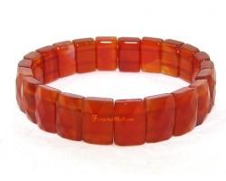Red Agate Faceted Flat Rectangular Crystal Bracelet