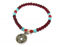 Red Agate Emperor's Coin Bracelet
