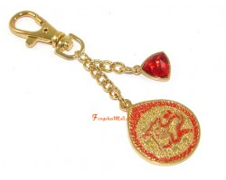 Red Dragon Amulet With Red Jewel Keychain