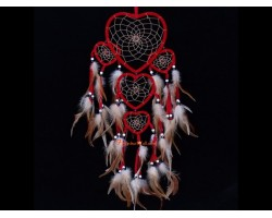 Red Hearts Dream Catcher Hanging With Feathers and Beads