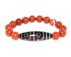 Tibetan Dzi Bead of Your Choice with Red Jasper Bracelet