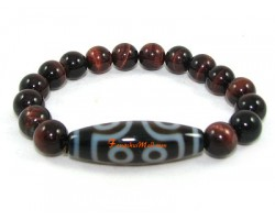 Tibetan Dzi Bead of Your Choice with Red Tigers Eye Bracelet