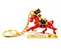 Red Victory Horse with Monkey, Rat and Dragon Keychain