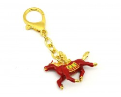 Red Windhorse for Success Luck Keychain