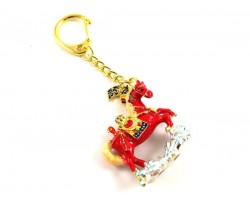 Red Windhorse Over Water Keychain