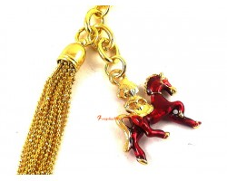 Red Windhorse with Flaming Jewel Keychain
