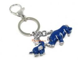 Bejeweled Blue Rhinoceros and Elephant Keychain