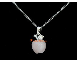 Faceted Apple Pendant Necklace - Rose Quartz
