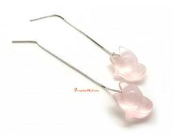 Rose Quartz Fox Long Dangle 925 Silver Earring