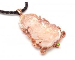 Rose Quartz Kuan Yin Pendant with Frame