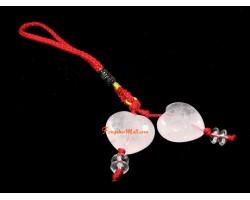 Pair of Rose Quartz Hearts Hanging