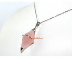 Pendulum Pendant in Silver Frame - Rose Quartz