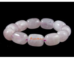 Cylindrical Rose Quartz Crystal Bracelet